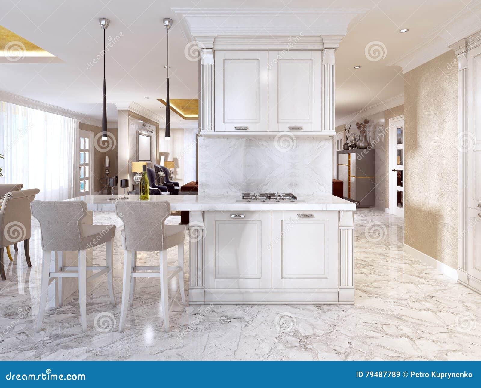 Barteller met barstoelen in luxueuze keuken stock illustratie