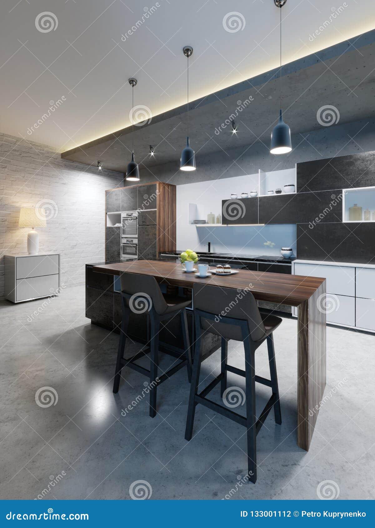 Barteller met stoelen en een keukeneiland in een moderne keuken, die verlichting gelijk maken