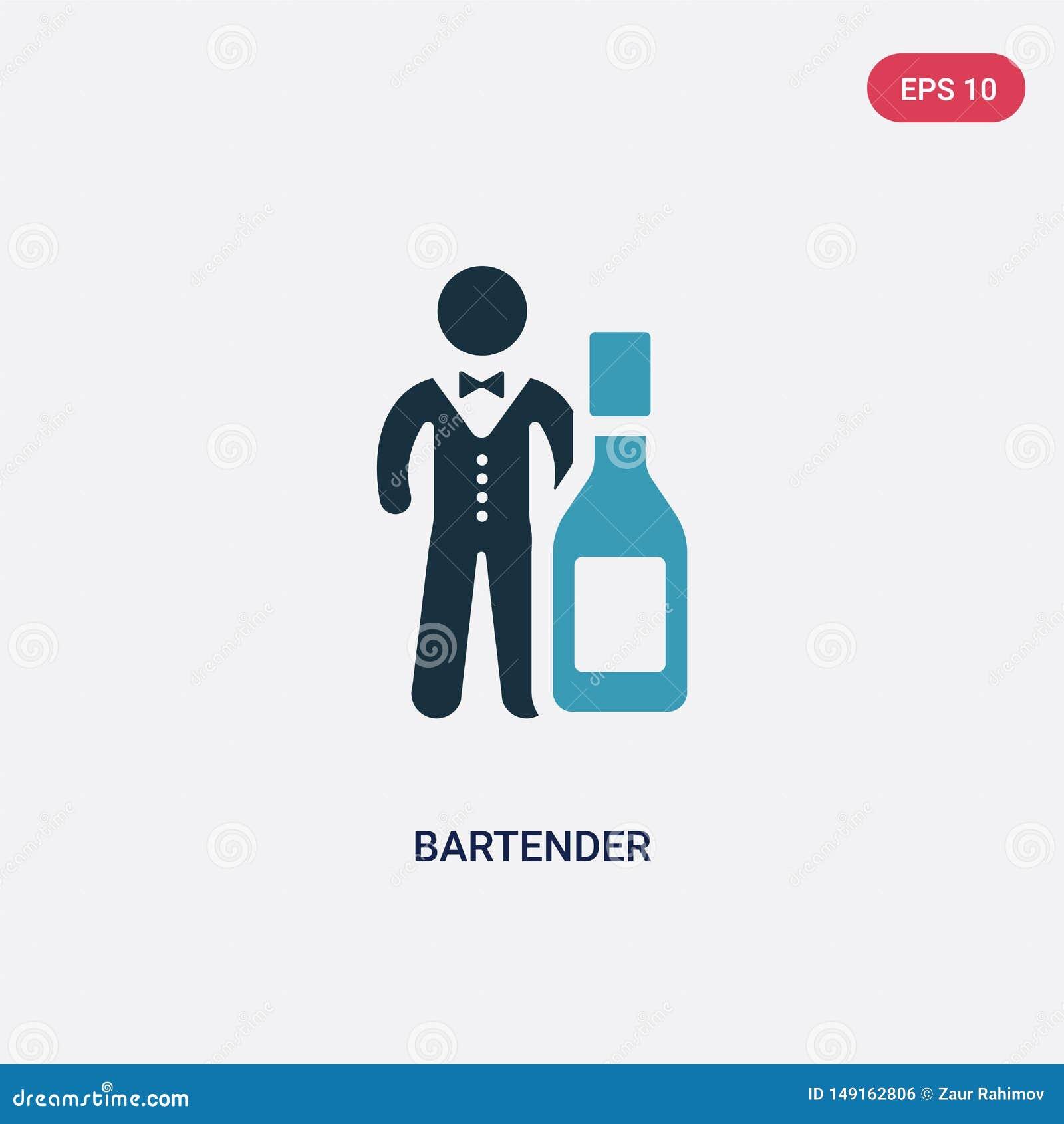 Bartender δύο χρώματος διανυσματικό εικονίδιο από την έννοια δεξιοτήτων ανθρώπων το απομονωμένο μπλε bartender διανυσματικό σύμβο