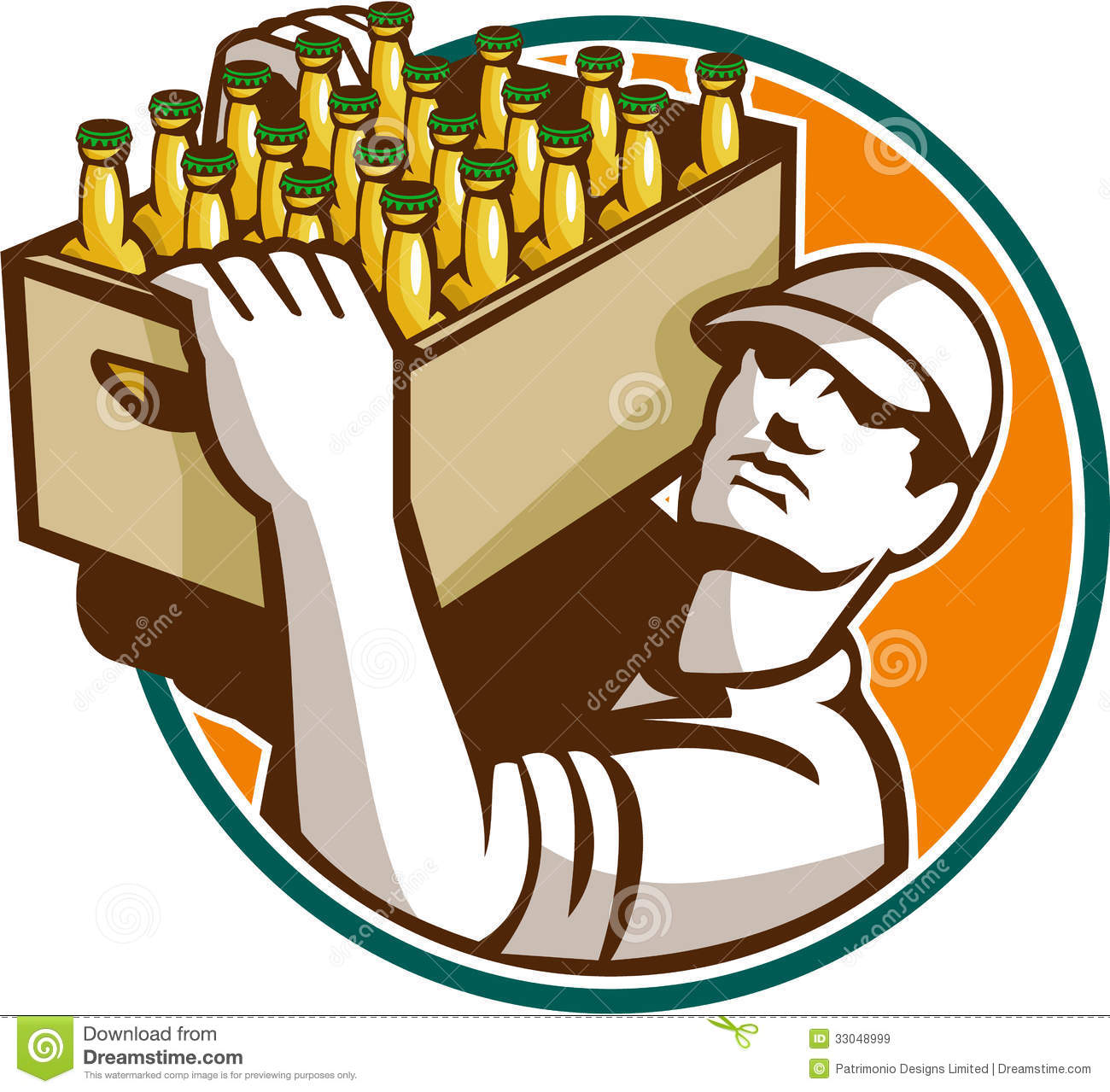Bartender Carrying Beer Case Retro Royalty Free Stock Images - Image ...