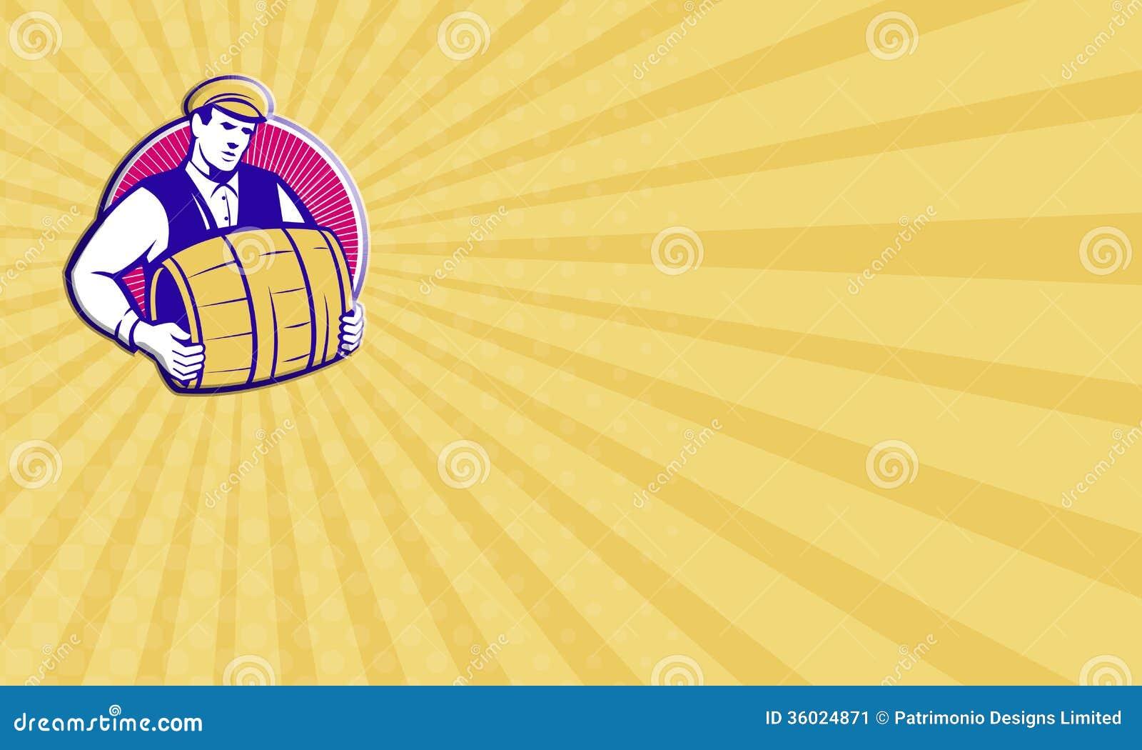Bartender Carrying Beer Keg Retro Stock Illustration ...