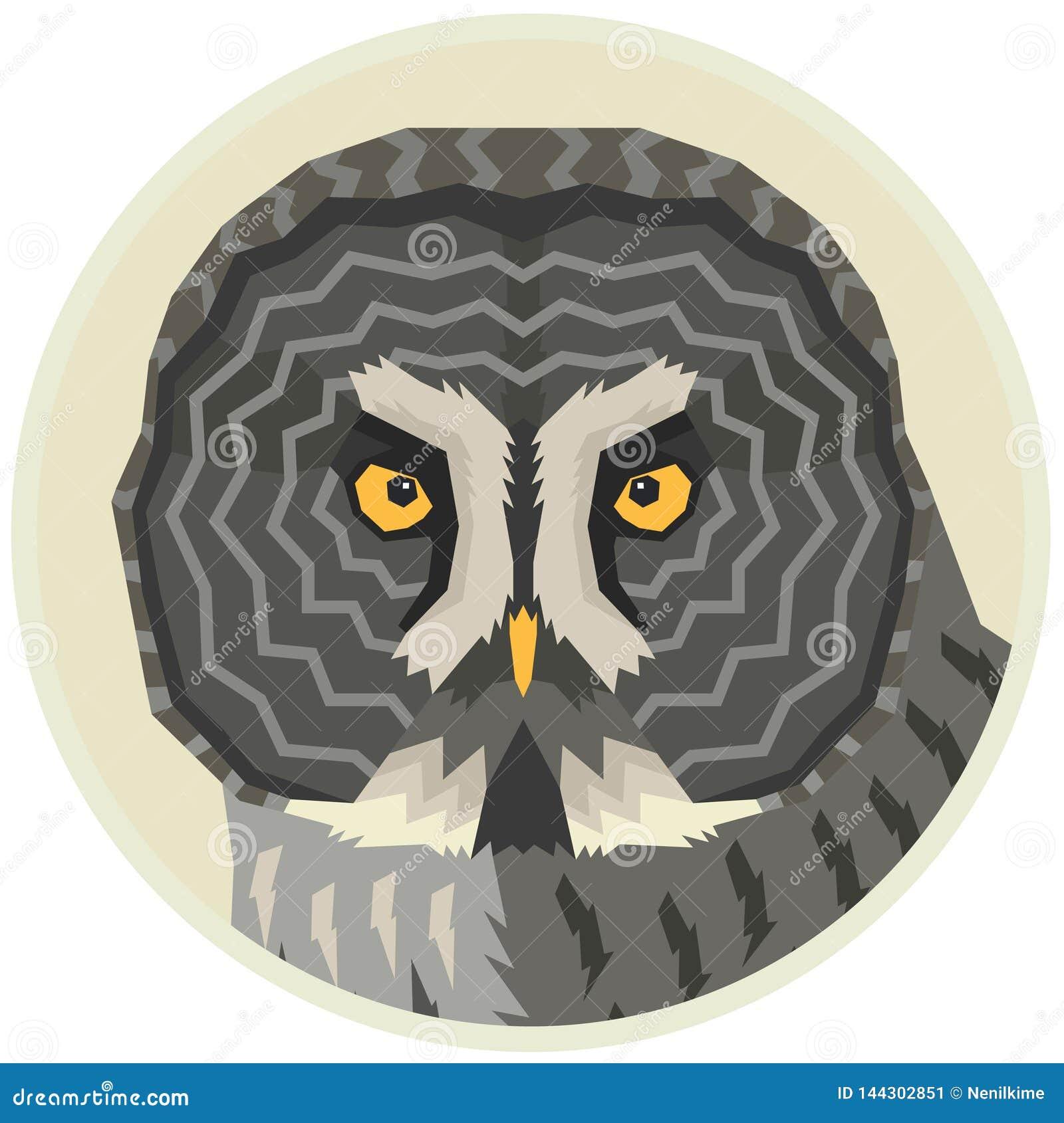Bartkauz-Vektorillustration eines Vogels in einem runden Rahmen