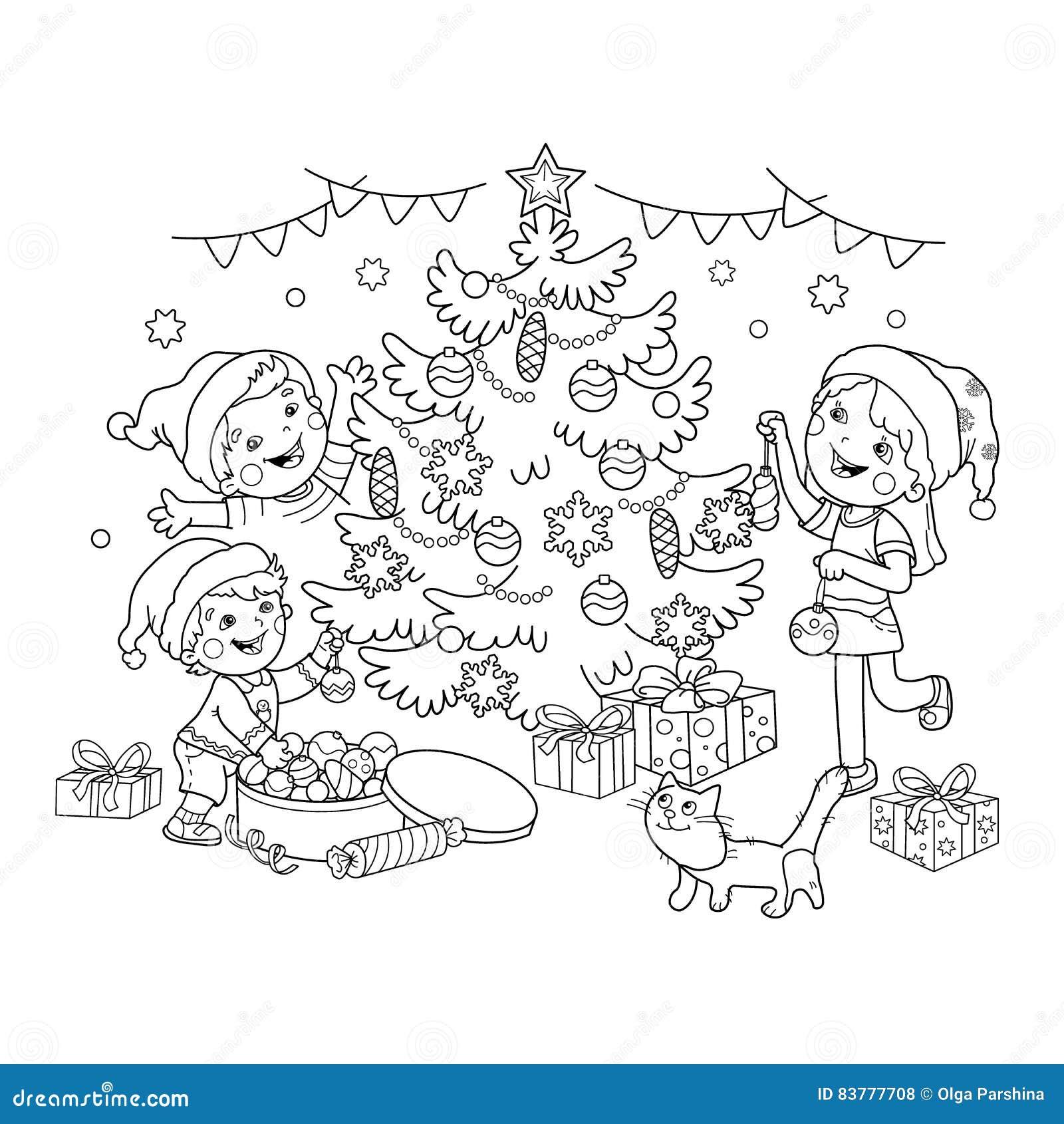 Barwiący strona kontur dzieci dekoruje choinki z ornamentami i prezentami Boże Narodzenia nowy rok,