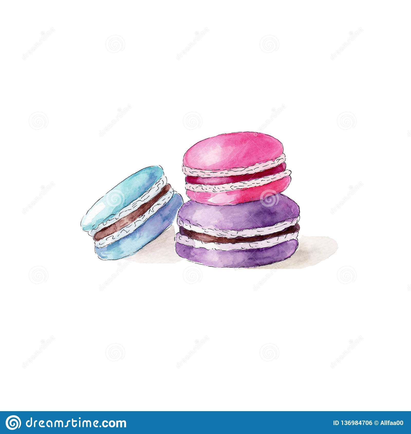 Barwi macarons na białym tle, akwareli ręka rysująca ilustracja