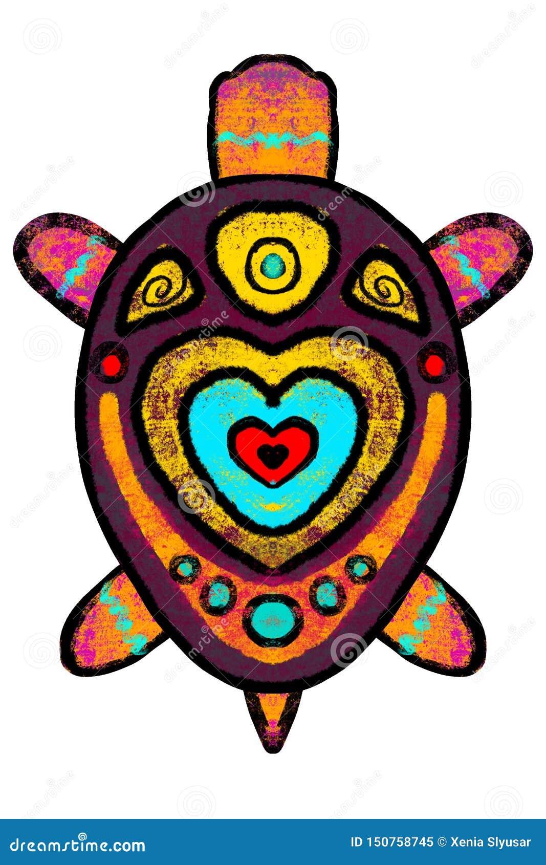 Barwi, stylizował, żółwia z ornamentem - ilustracja