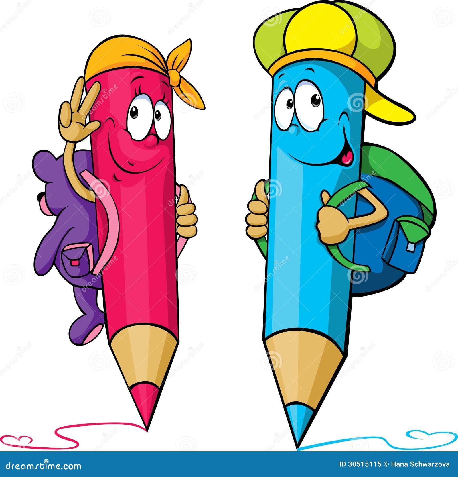 Barwiona ołówek kreskówka z szkolnymi torbami na ich