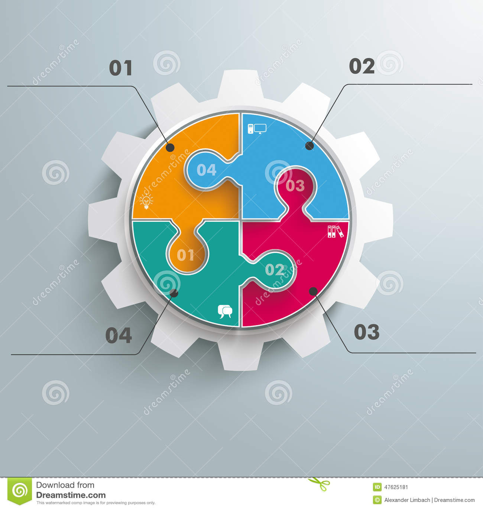 Barwiona okrąg łamigłówki przekładnia Infographic