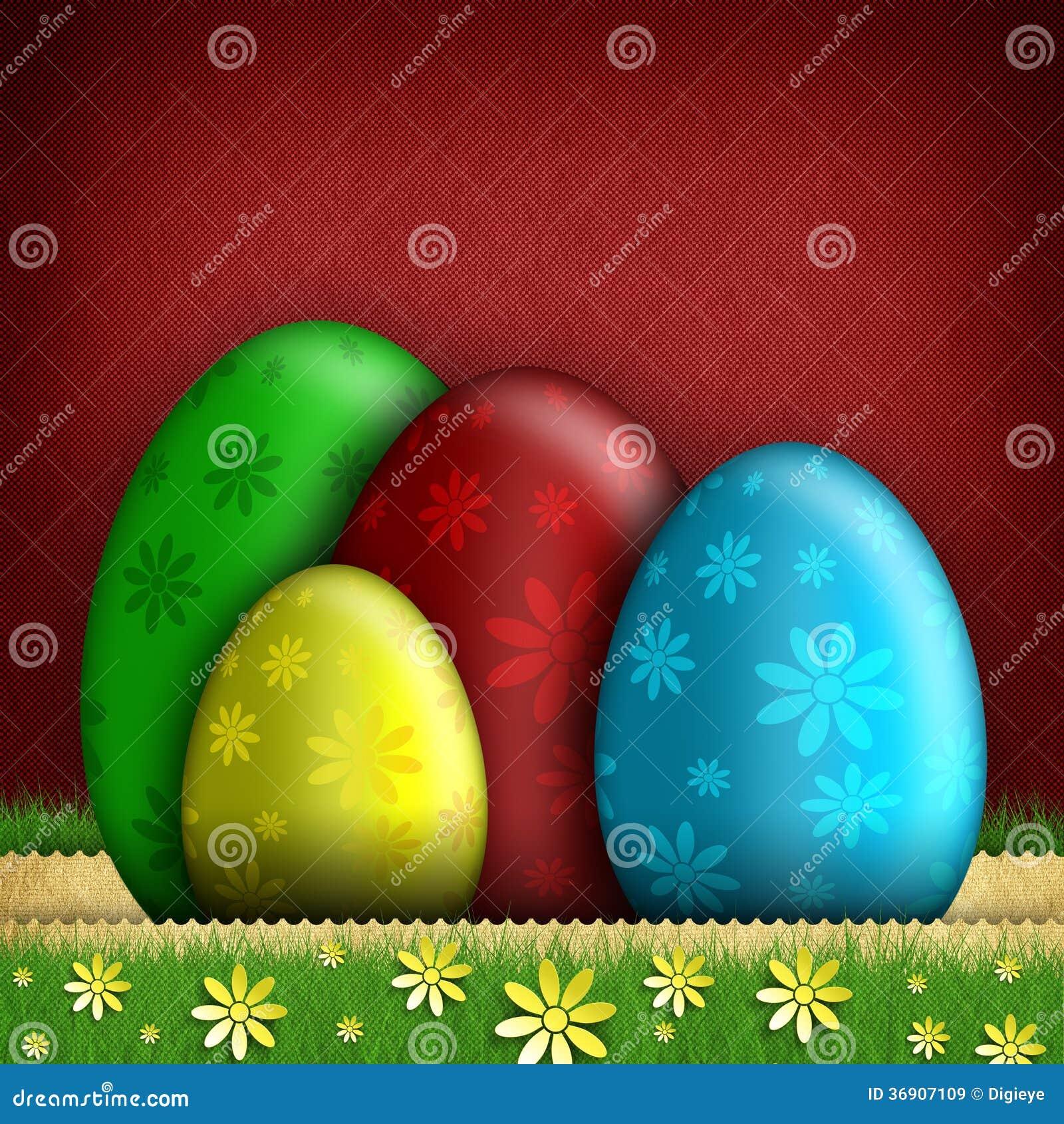 Barwioni Wielkanocni jajka i kwiaty
