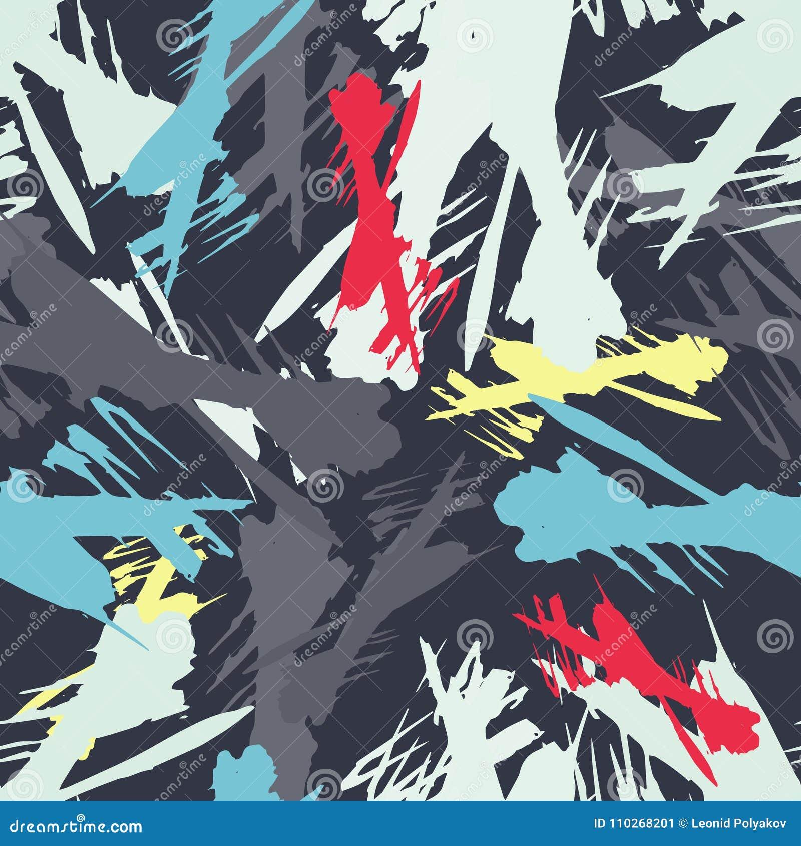 Barwiony abstrakcjonistyczny bezszwowy wzór w graffiti stylu ilości wektorowa ilustracja dla twój projekta