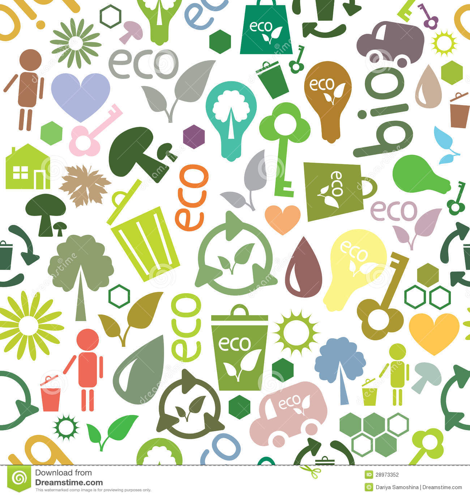 Barwiony bezszwowy wzór ekologiczni symbole