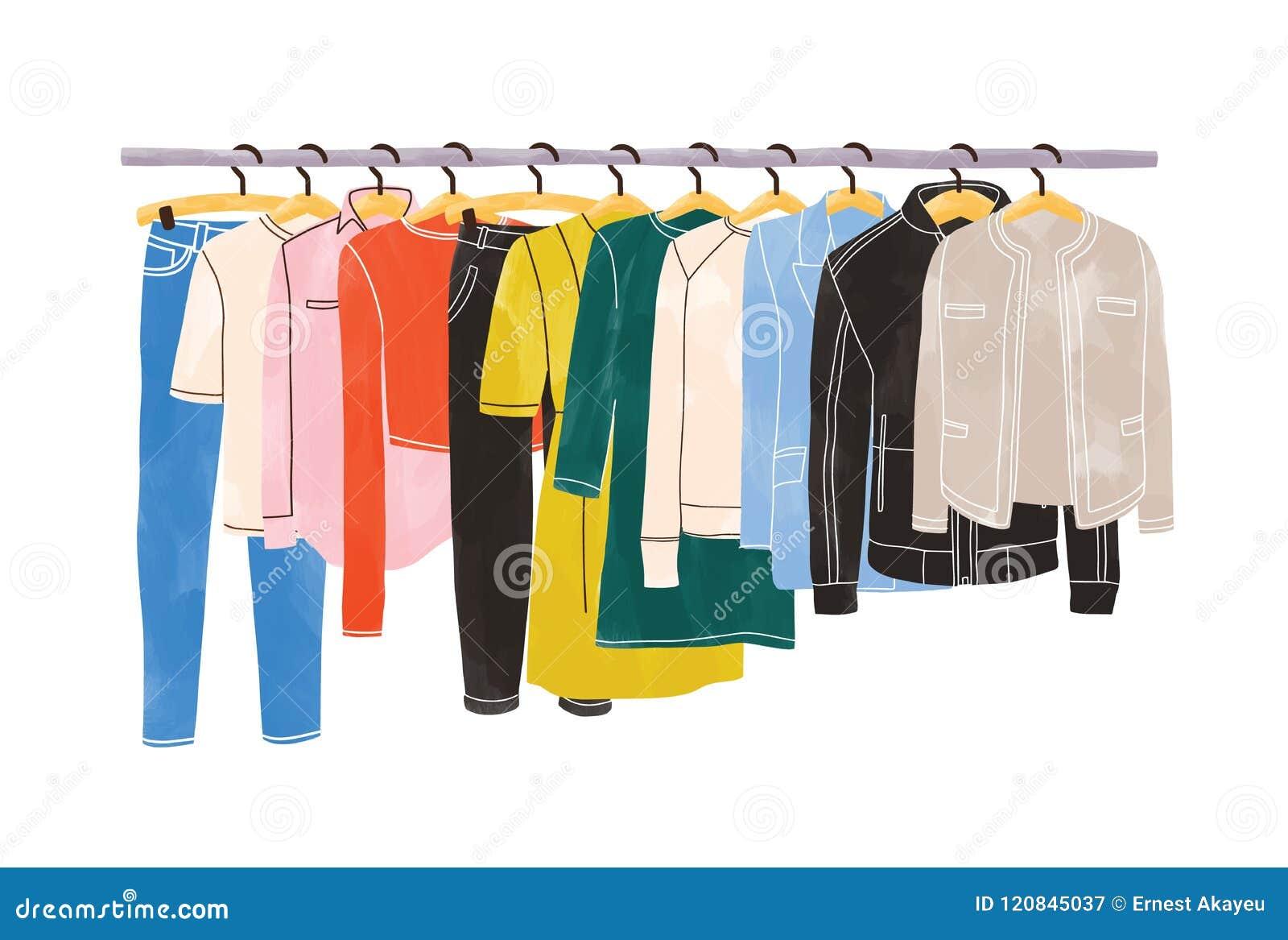 Barwiony odzieżowy, odzież obwieszenie na wieszakach na lub szata poręczu lub target30_1_