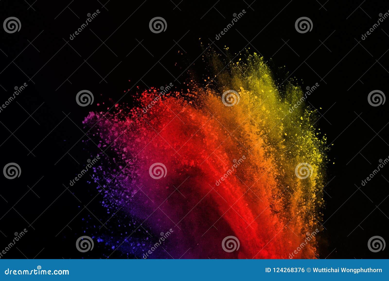 Barwiony prochowy wybuch Barwiony pył splatted