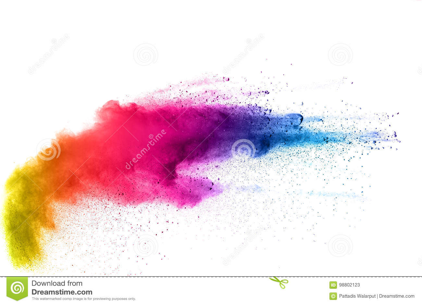 Barwiony proszek splatted na białym tle