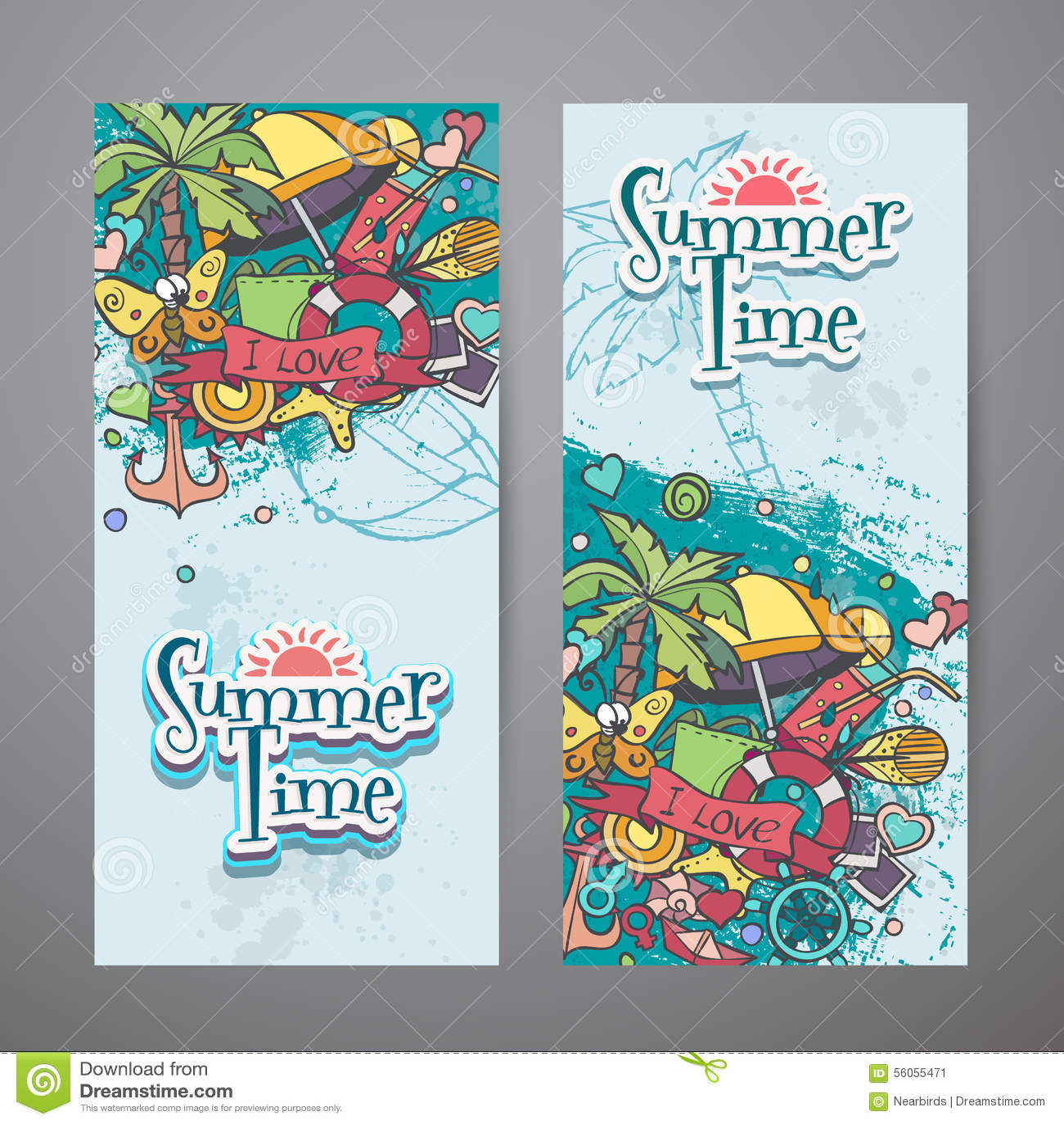 Barwiony set pionowo sztandary z latem doodles