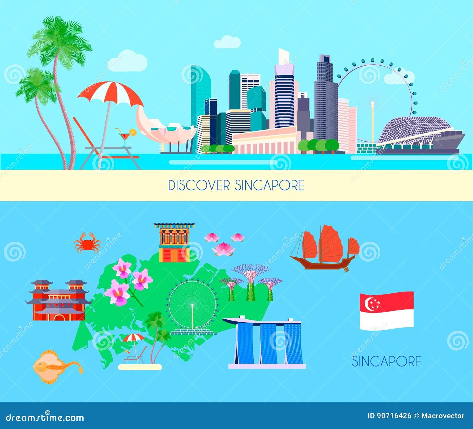 Barwiony Singapur kultury sztandaru set