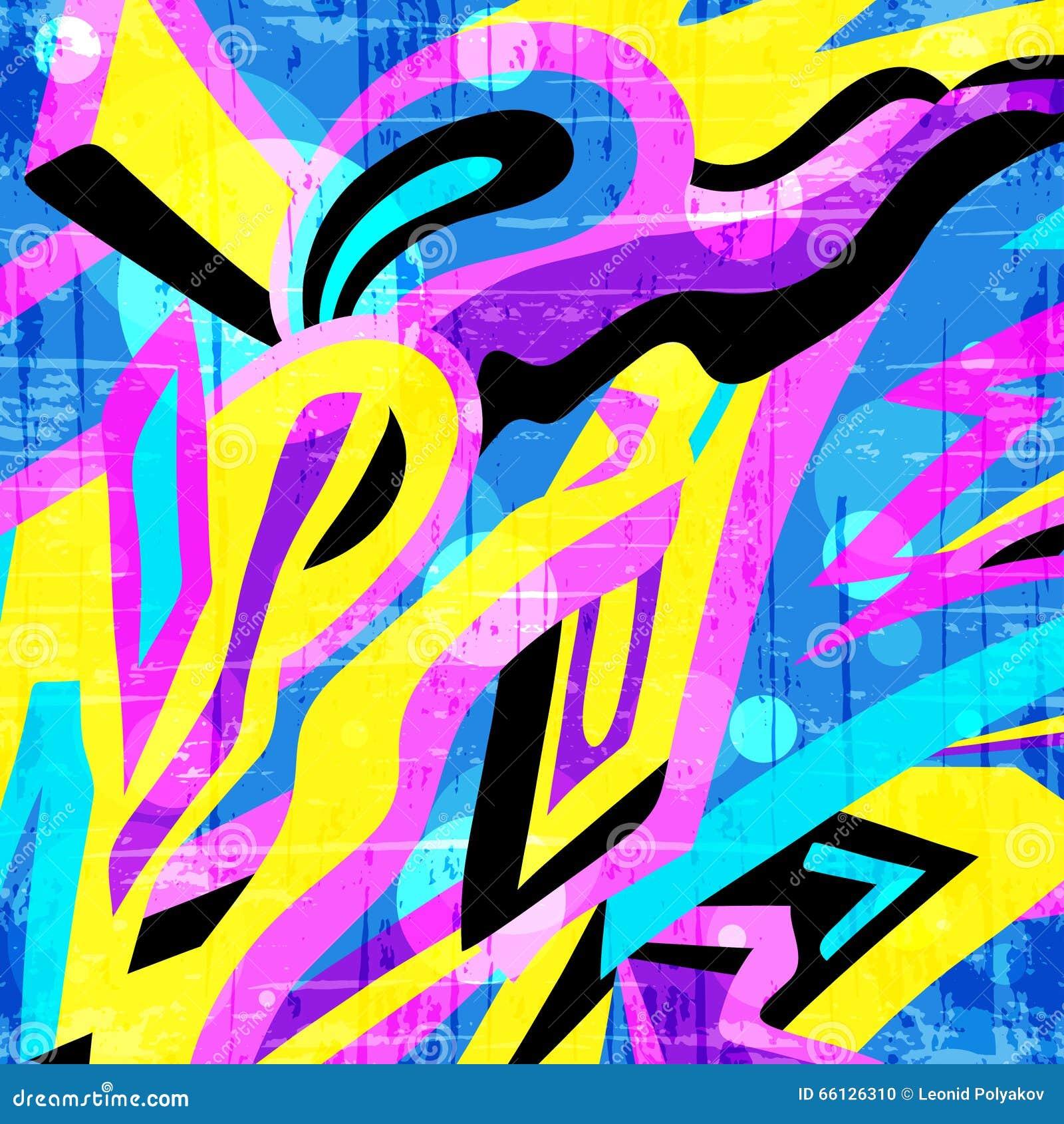 Barwiony wieloboków graffiti wzór na żółtym tle