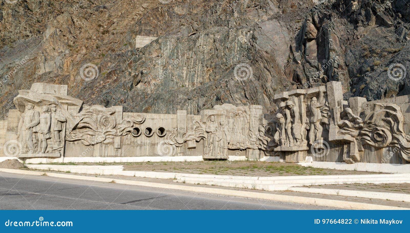 Bas builders Kirov reservoir dam. Built 1965 - 1975. Valley Ta