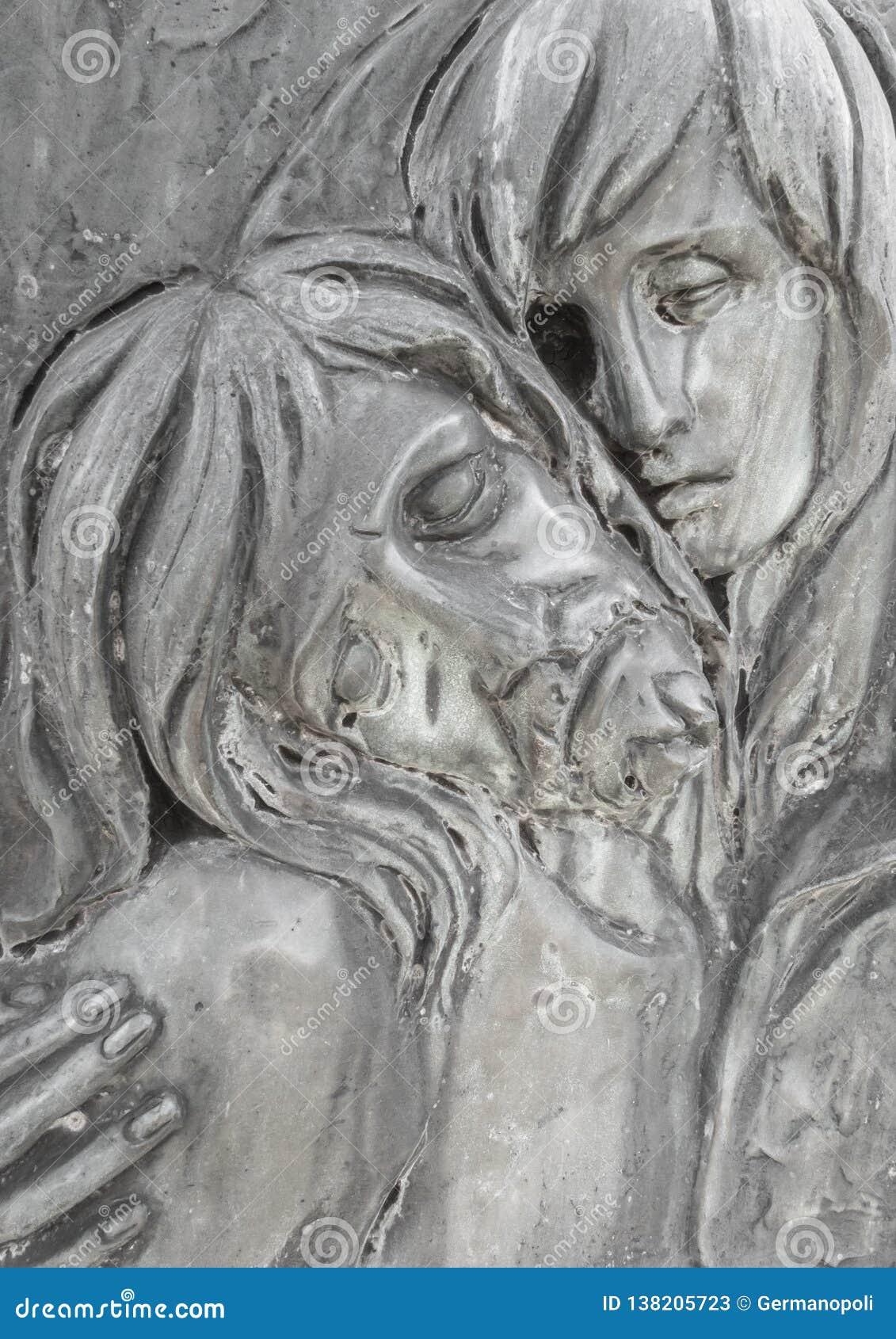 Bas-hulp in brons die het Medelijden van Michelangelo vertegenwoordigen