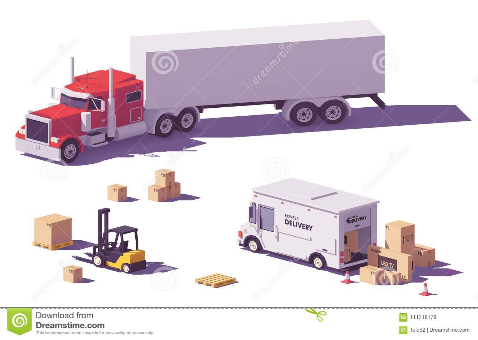 Bas poly camions et chariot élévateur de vecteur