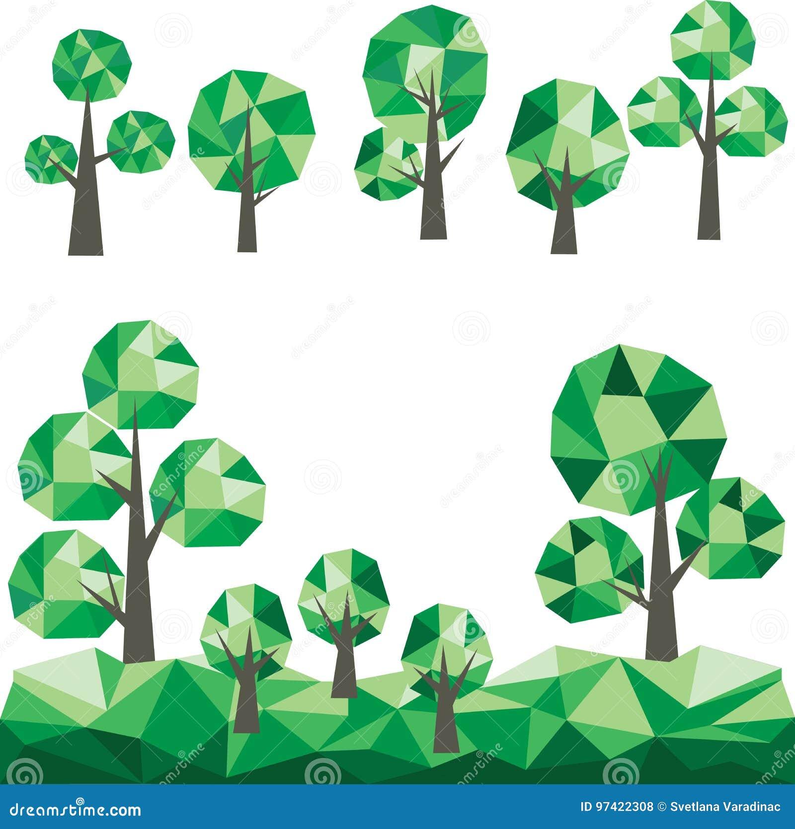 Bas poly clipart (images graphiques) d arbres