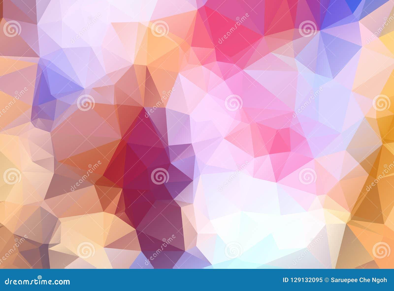 Bas poly fond triangulaire fripé géométrique bleu, jaune, orange multicolore abstrait de graphique d illustration de gradient de
