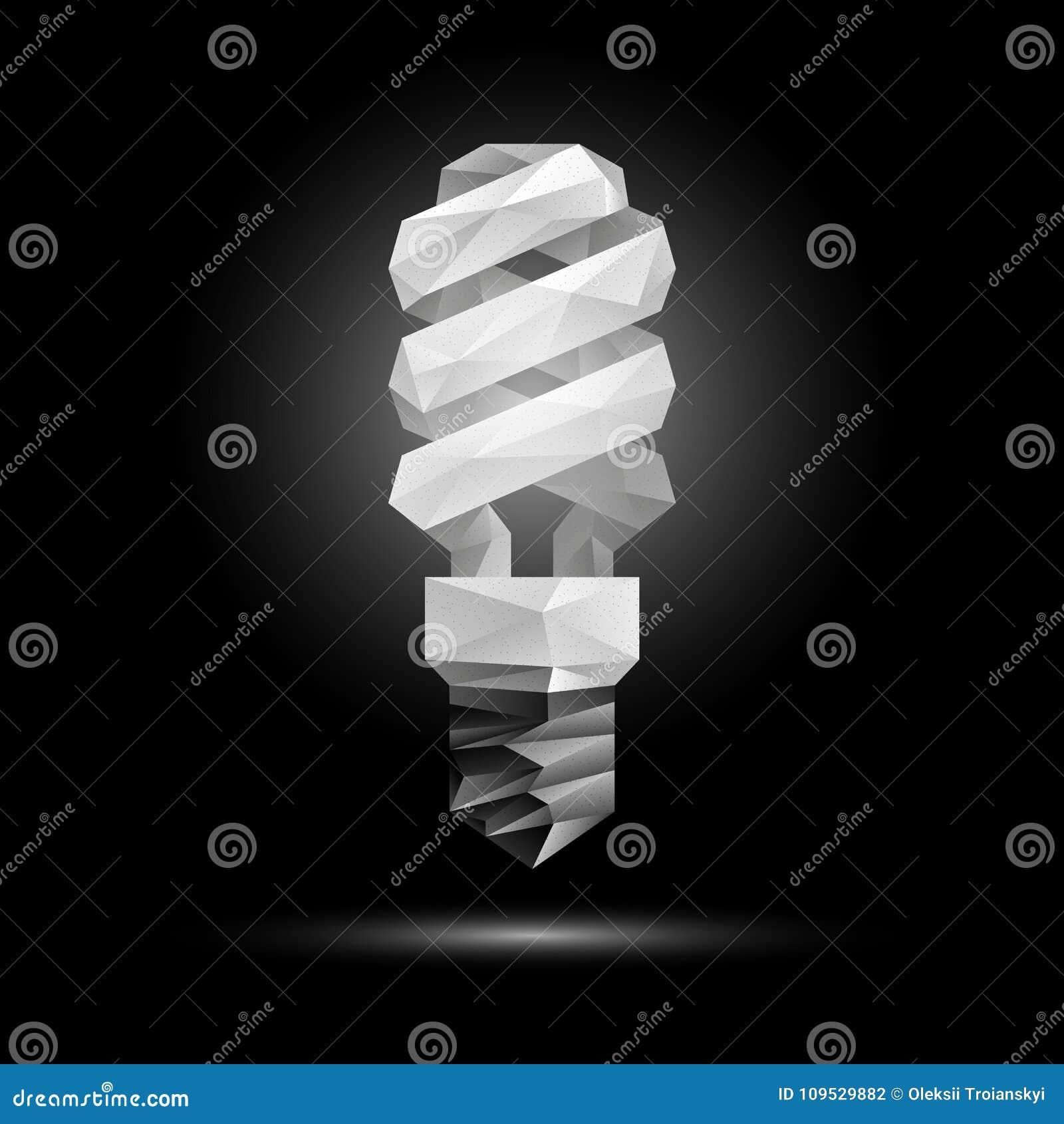 Bas Poly Modèle Fluorescent De L'ampoule 3d Illustration