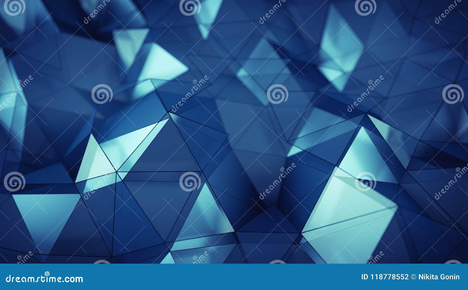 Bas poly rendu en verre bleu de la surface 3D