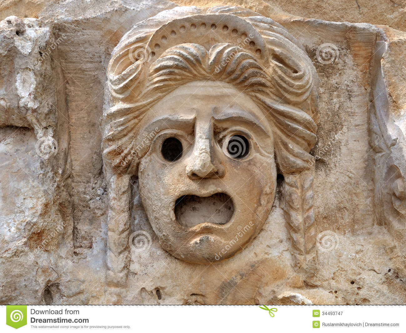 The Bas Relief A Mask Of Stone Royalty Free Stock