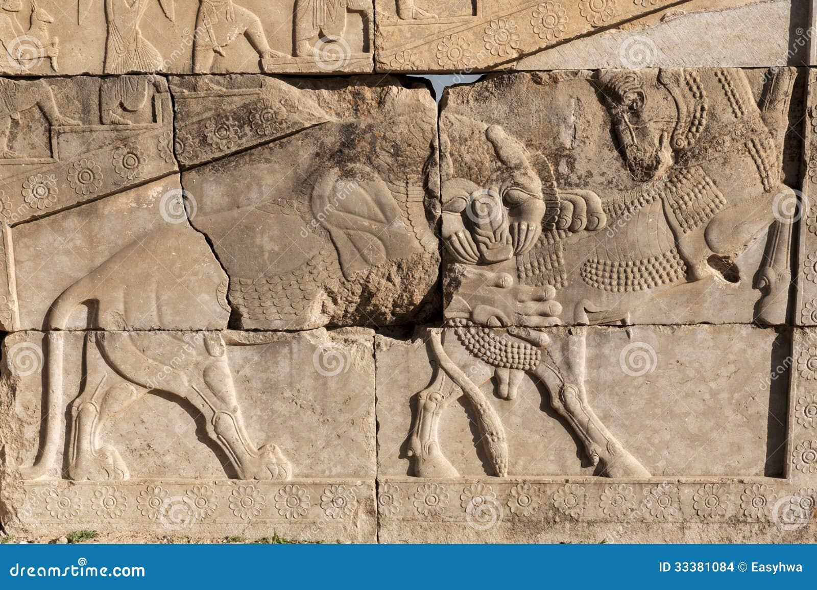 Bas relief of persepolis ruins,shiraz iran stock photo