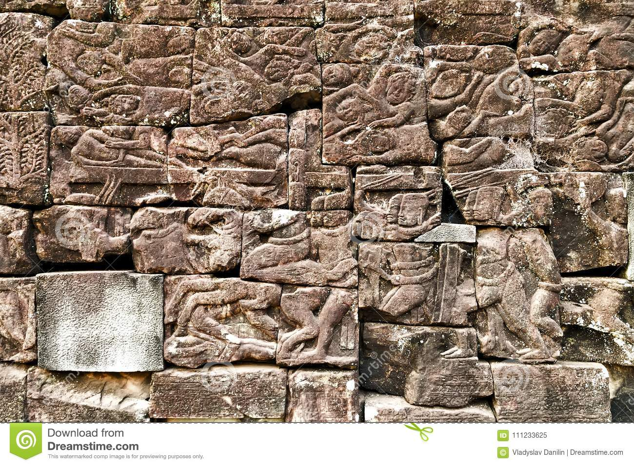 Bas relief statue background of khmer culture in angkor