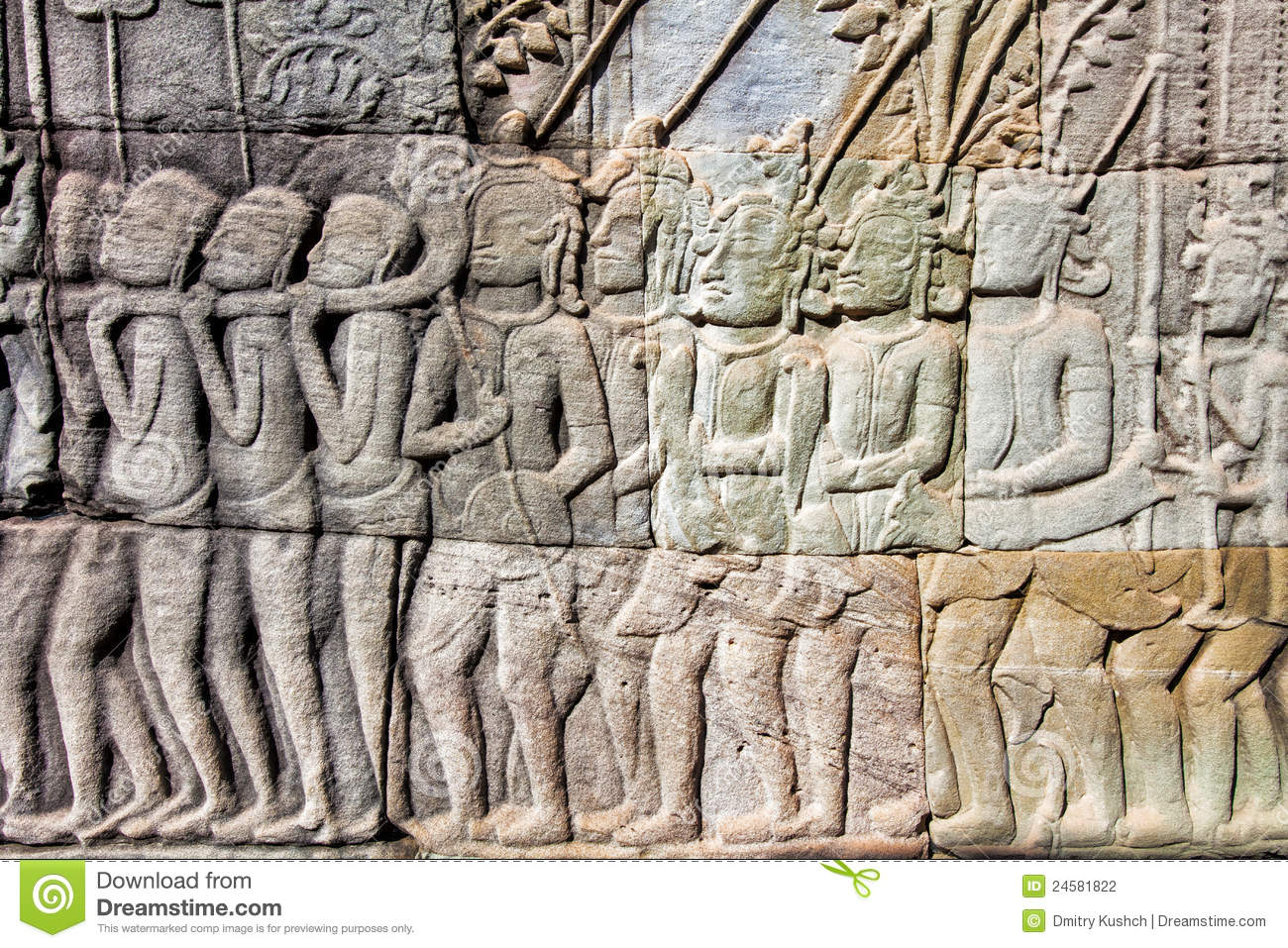 Bas relief on the wall of angkor wat stock photography