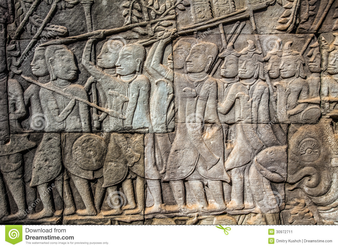 Bas relief on the wall of angkor wat stock image