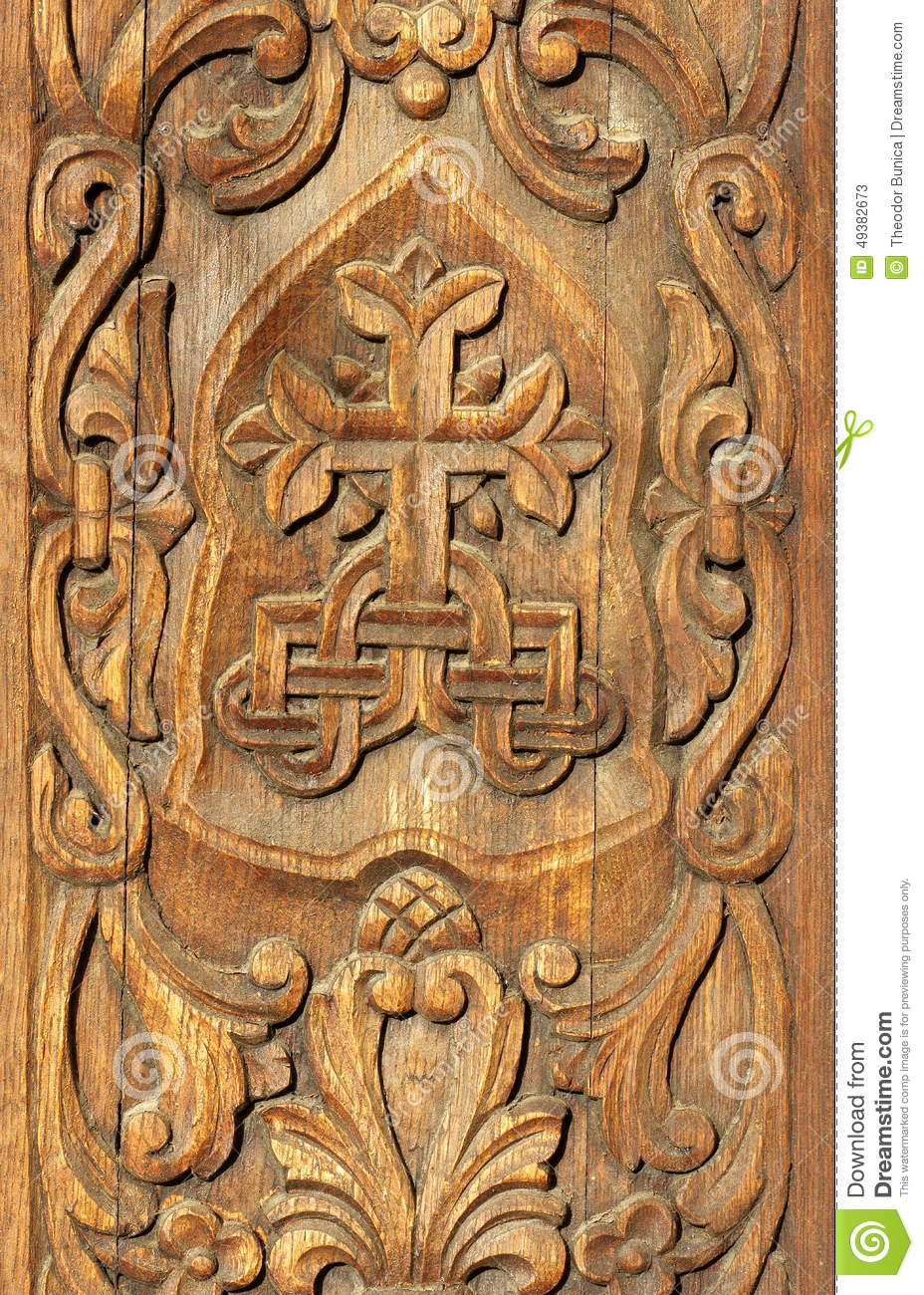 Bas Relief In Wood Carved Wooden Door Wooden Background