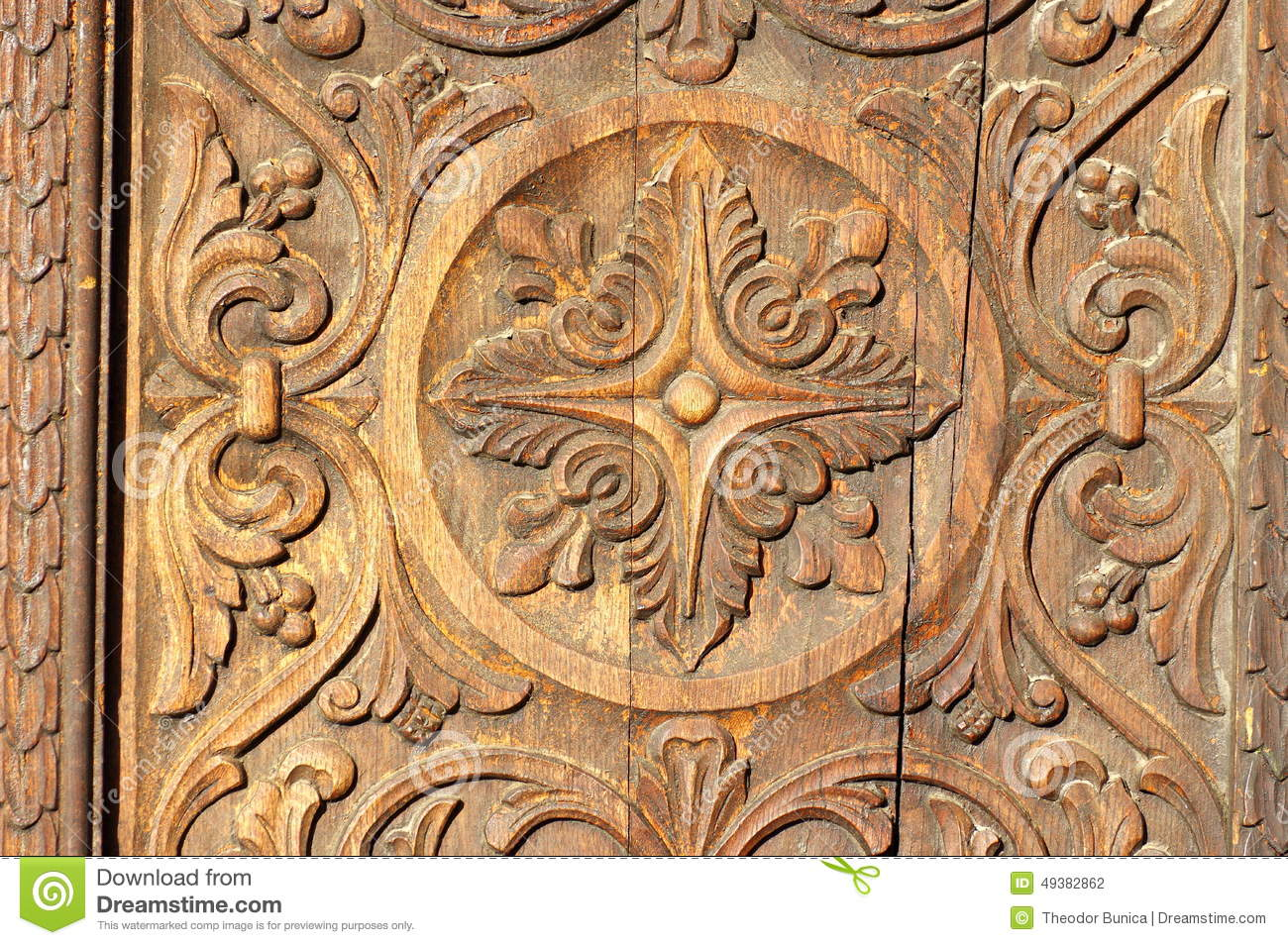 Bas relief in wood carved wooden door background
