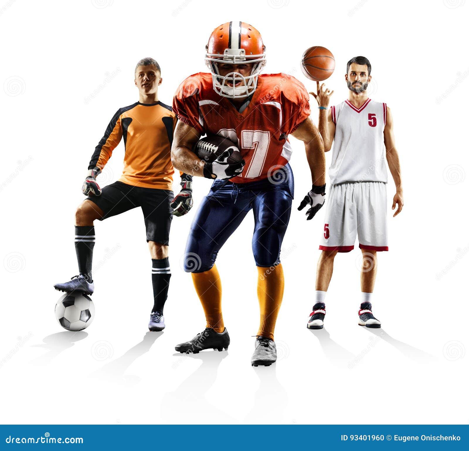 Bascketball multi del fútbol americano del fútbol del collage del deporte
