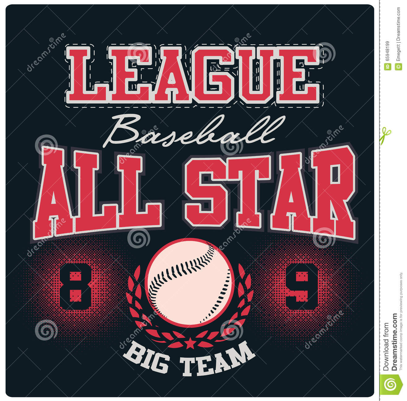 Base-ball Logo Tee Graphic Design All-Star
