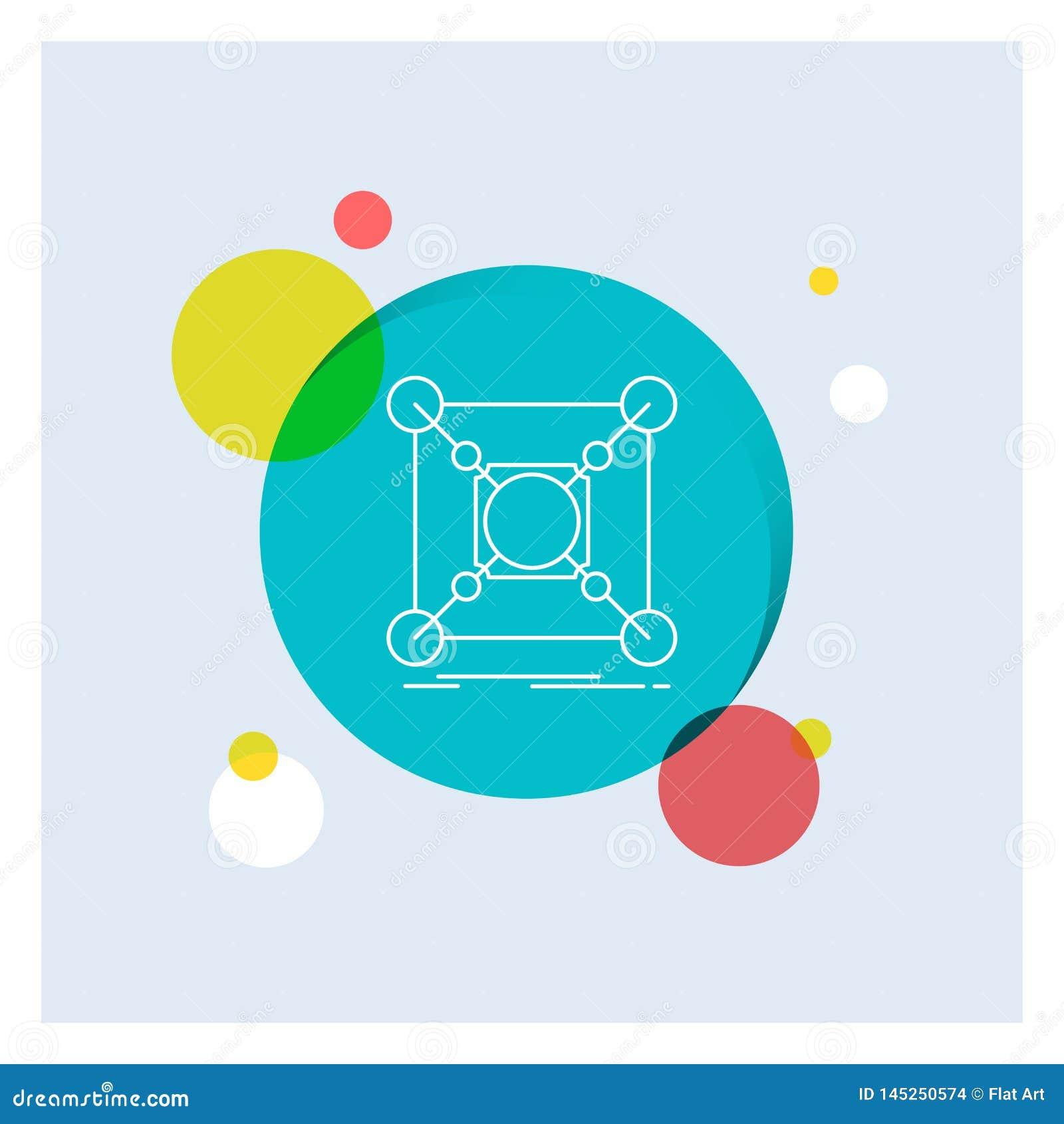 Base, centro, conexão, dados, linha branca fundo colorido do cubo do círculo do ícone