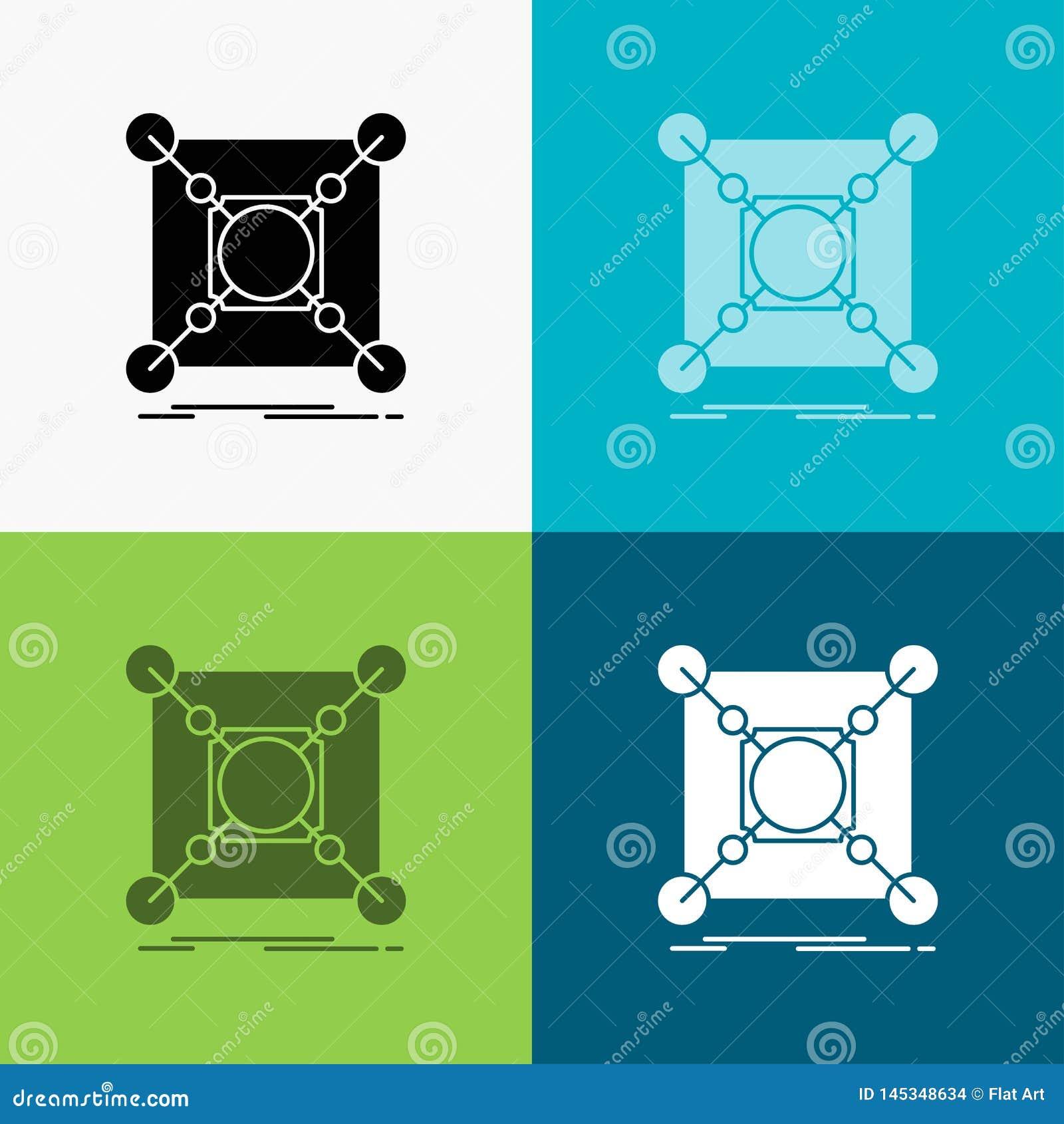 Base, centro, conex?o, dados, ?cone do cubo sobre o v?rio fundo projeto do estilo do glyph, projetado para a Web e o app Vetor do