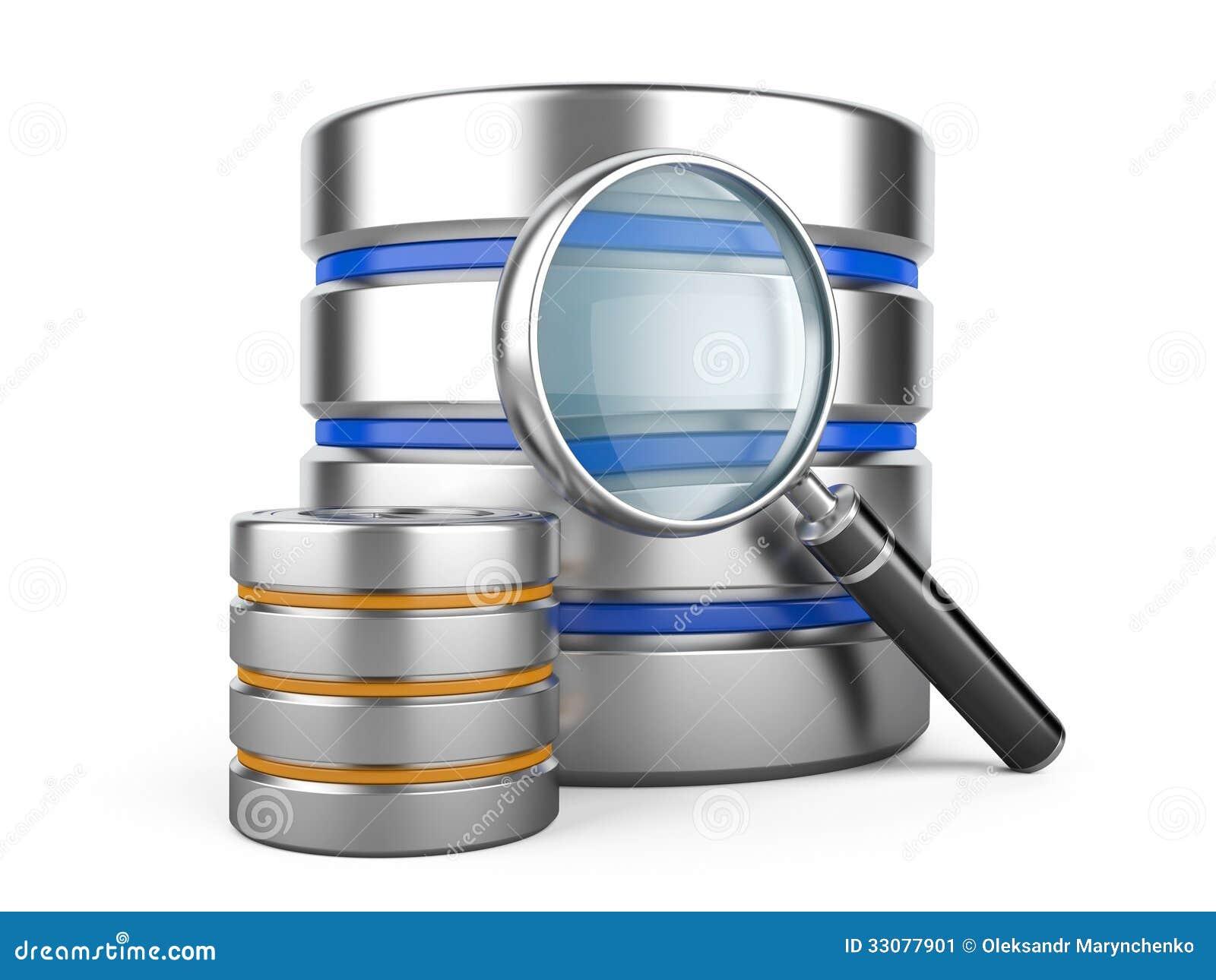 Base de dados com lente de aumento