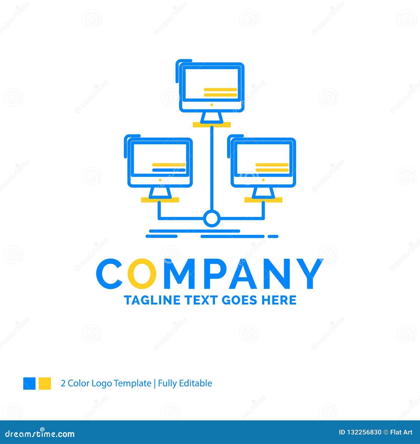 Base de datos, distribuida, conexión, red, amarillo azul del ordenador