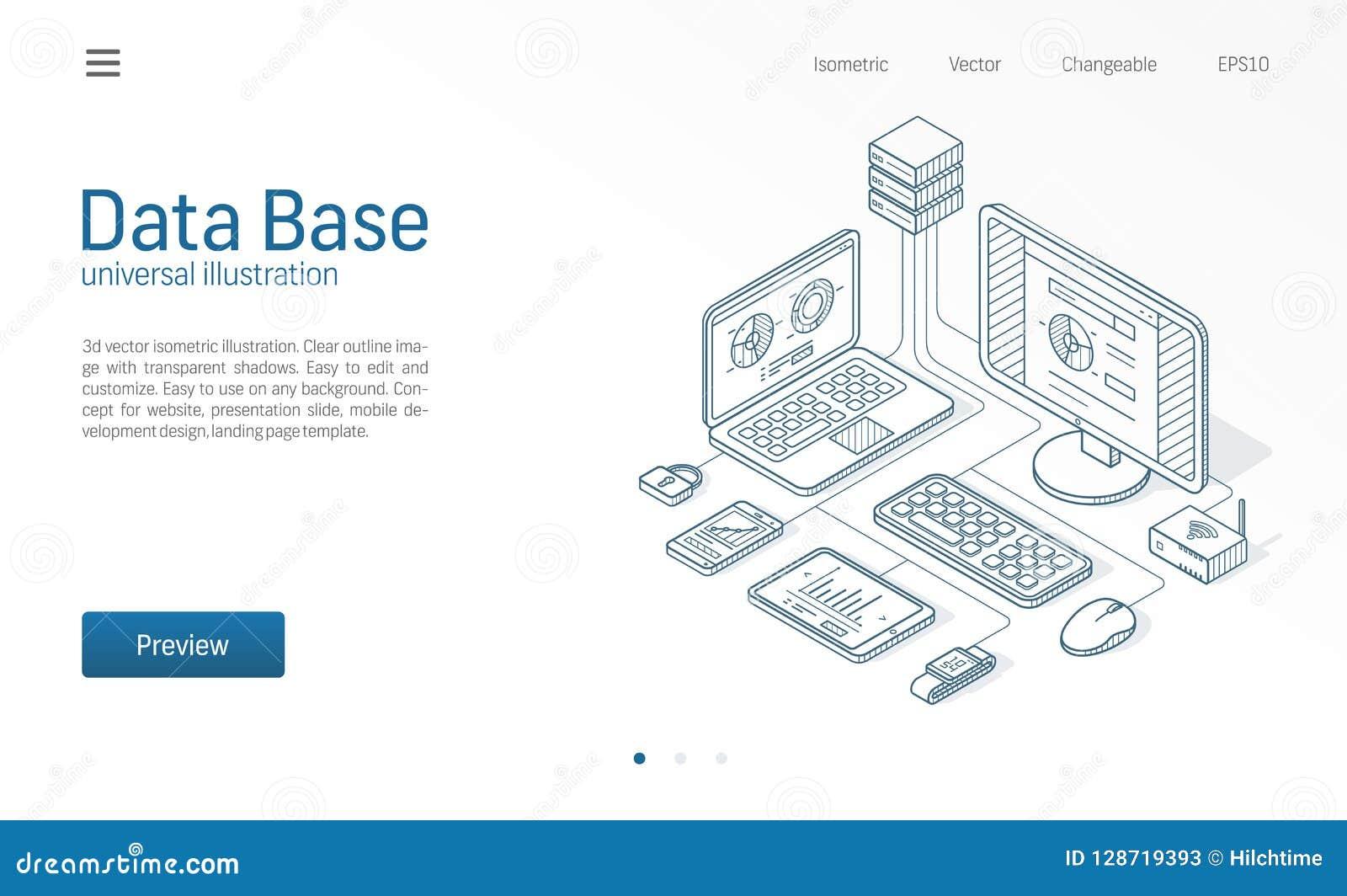 Base de datos, datos grandes, línea isométrica moderna ejemplo del servidor de anfitrión Datacenter, bosquejo del negocio del cen