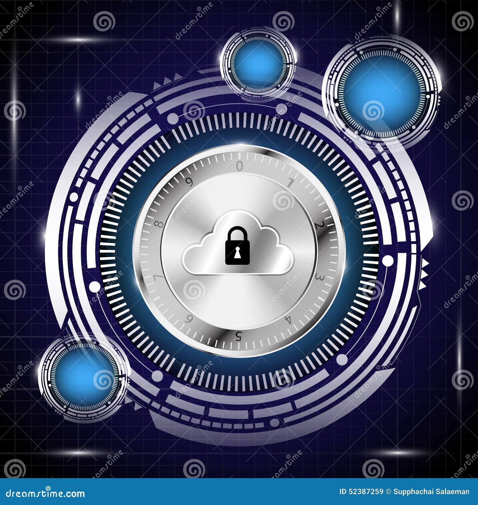 Base di dati di Digital nel fondo di concetto di sicurezza
