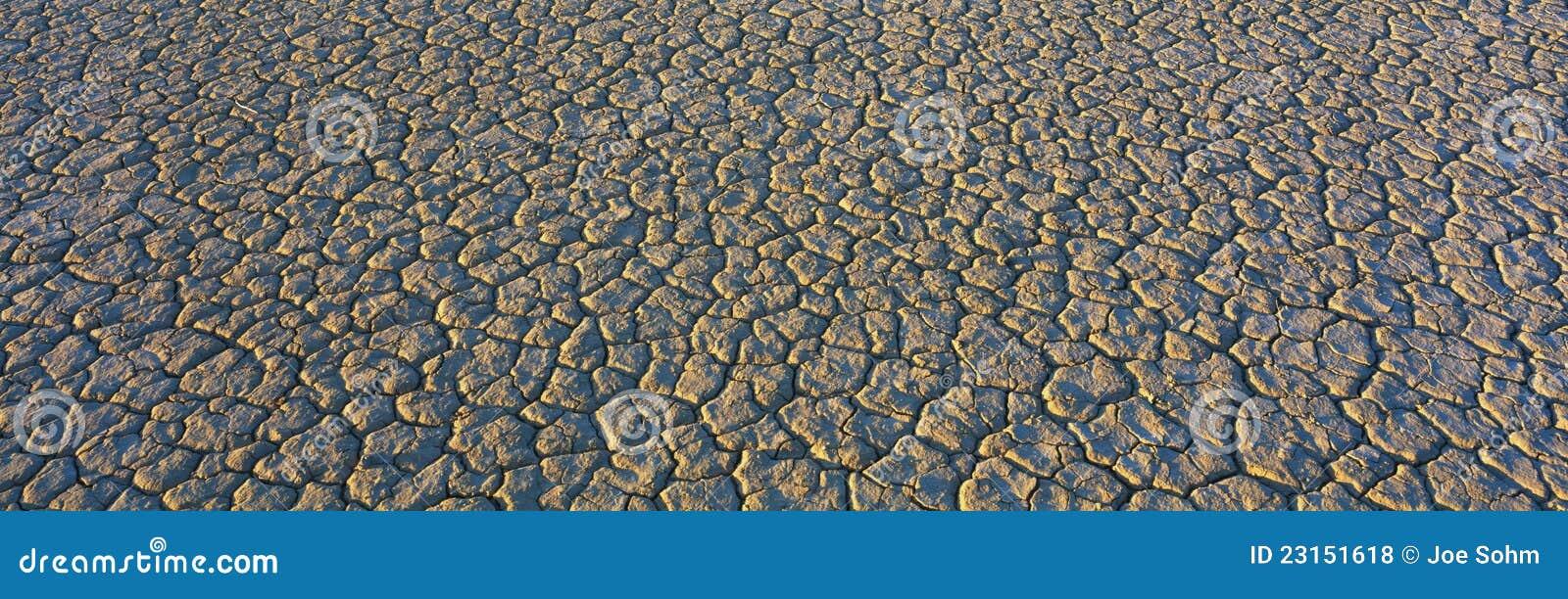 Base di lago asciutto nel deserto di Mojave