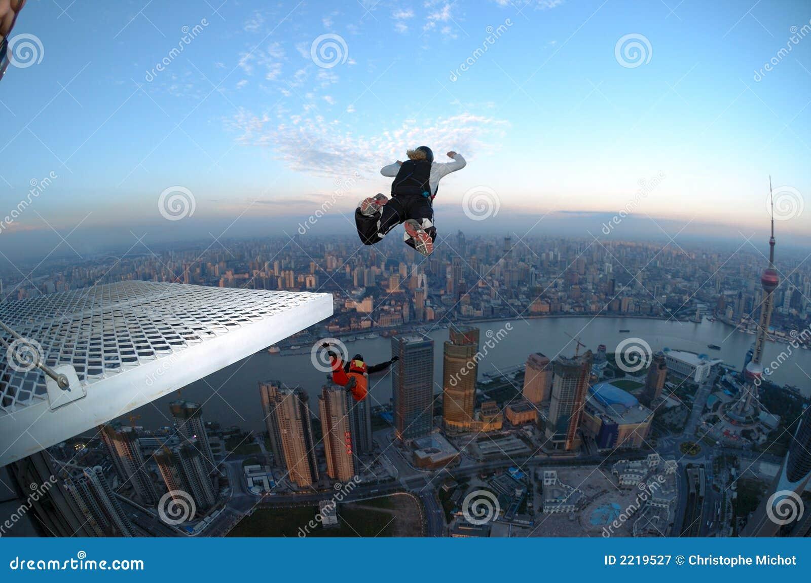 BASE jump Shanghai at sunrise