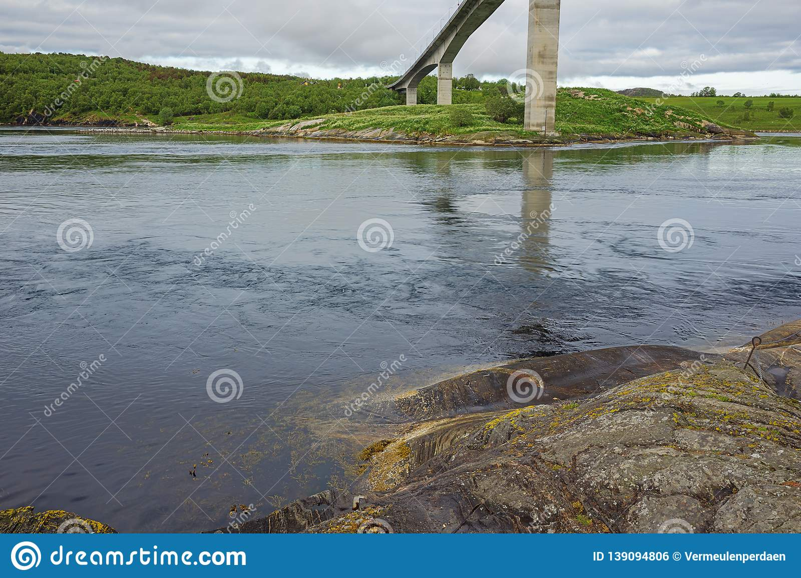 At the base of the Saltstraumen bridge