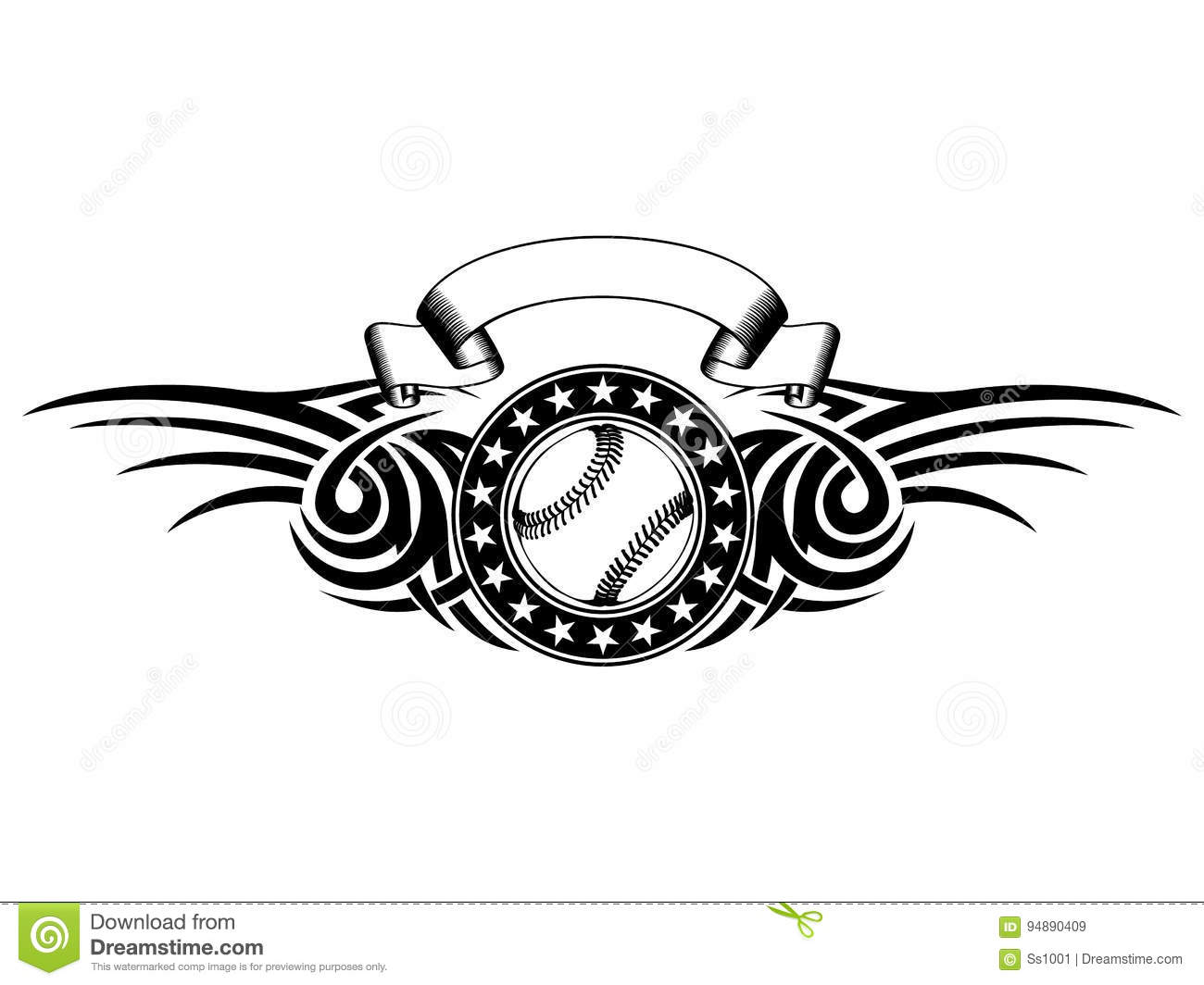 bbb12a11 Abstract vector illustration black and white baseball ball with tribal  wings. Design for tattoo or print t-shirt.