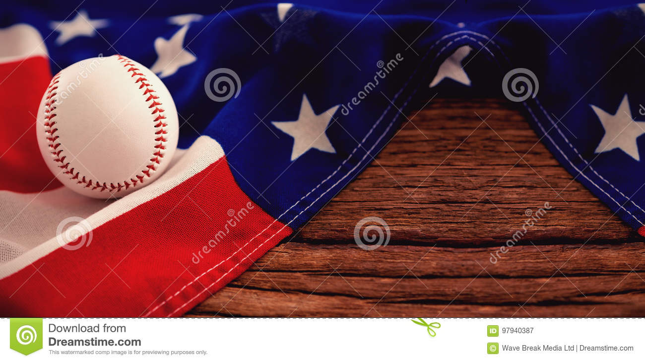Baseball On American Flag At Table Stock Image - Image of ball ... 3bfde00a295