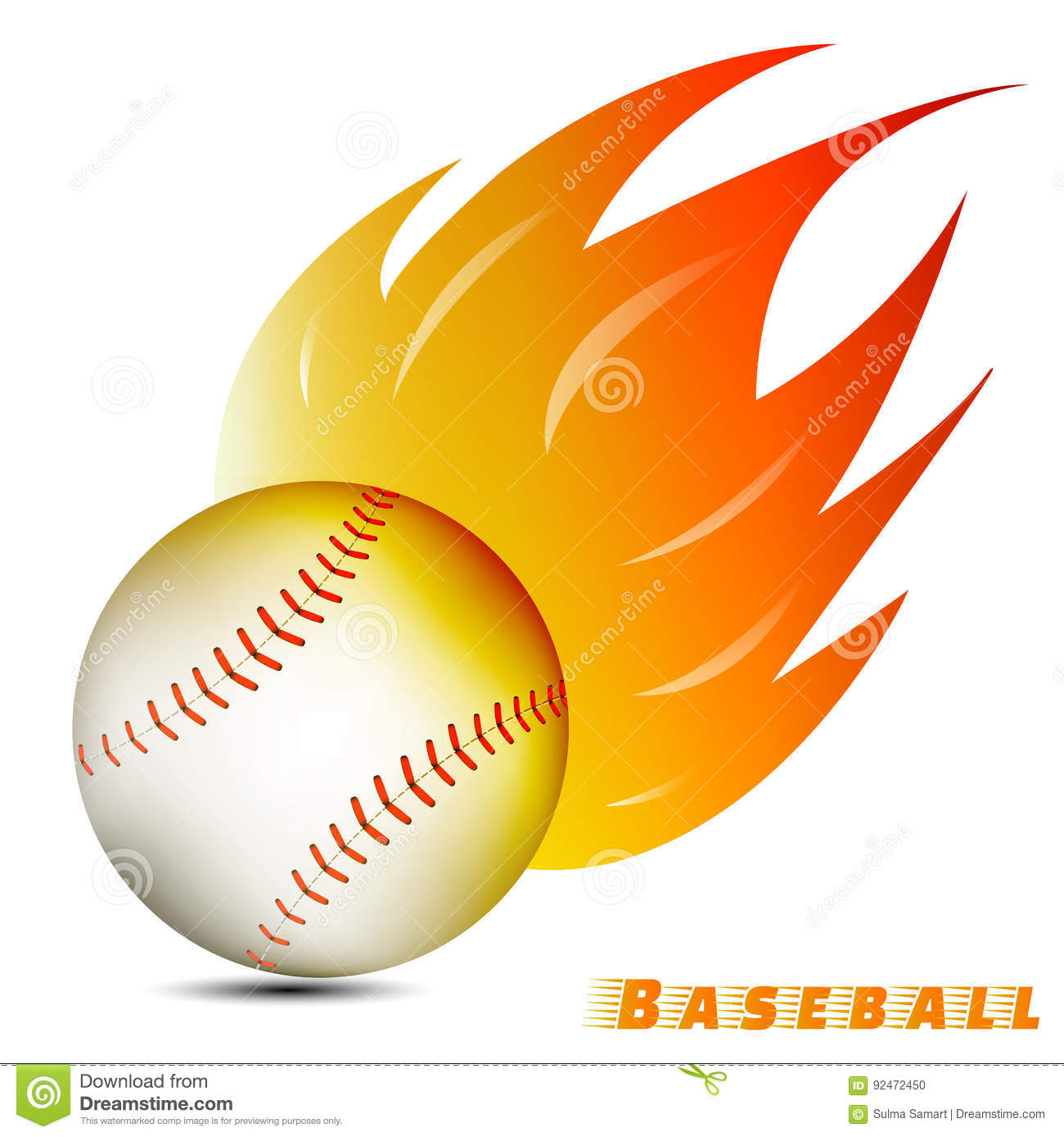 Baseball ball with red orange yellow fire tone on white background. baseball team club logo. vector. illustration.