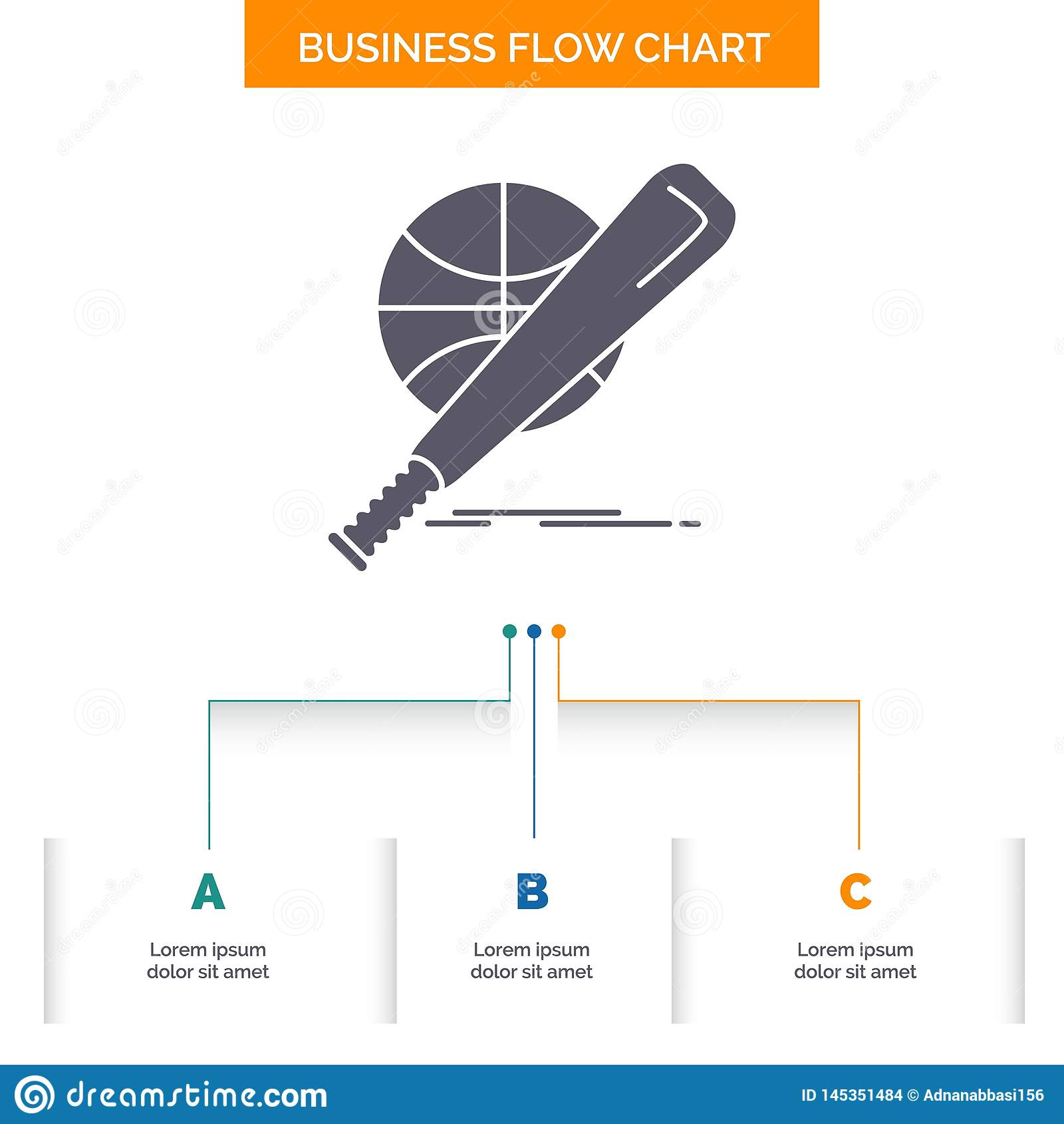 baseball, basket, ball, game, fun Business Flow Chart Design with 3 Steps. Glyph Icon For Presentation Background Template Place