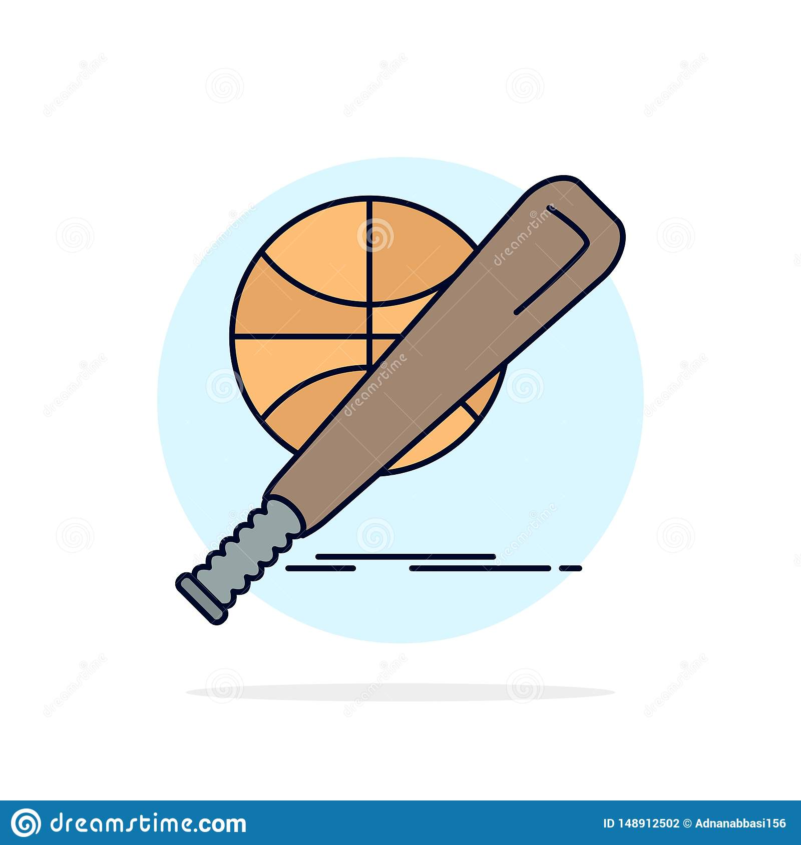 baseball, basket, ball, game, fun Flat Color Icon Vector